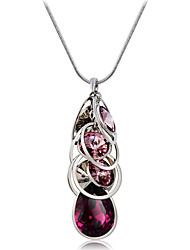 abordables -Mujer Violeta Collares con colgantes - Cristal, Plateado Moda, Elegante Morado Gargantillas Para Fiesta / Noche, Ceremonia