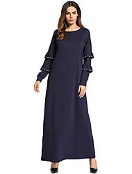 cheap -Women's Boho Loose Dress - Solid Color, Beaded Ruffle Maxi