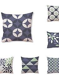 economico -6 pezzi Tessuto Cotone/Lino Copricuscino, Fantasia geometrica A quadri