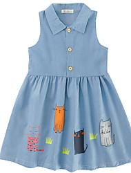 abordables -Robe Fille de Quotidien Couleur Pleine Coton Lin Fibre de bambou Acrylique Printemps Manches Longues simple Rétro Bleu
