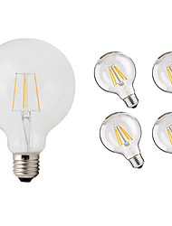 abordables -5pcs 4W 360lm E26 / E27 Ampoules à Filament LED G95 4 Perles LED COB Décorative Blanc Chaud 220-240V