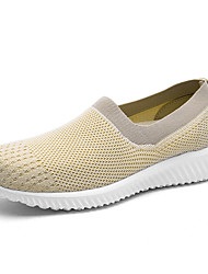cheap -Women's Shoes Knit / Synthetic Microfiber PU Spring / Summer Comfort Loafers & Slip-Ons Walking Shoes Flat Heel Round Toe White / Black /