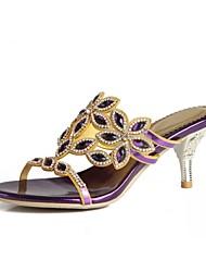 baratos -Mulheres Sapatos Poliuretano Primavera / Verão Botas da Moda Sandálias Salto Agulha Dedo Aberto Pedrarias / Cristais / Gliter com Brilho