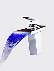 Недорогие -Современный Ар деко / Ретро Modern Настольная установка Водопад Термостатический LED Керамический клапан Одно отверстие Одной ручкой одно