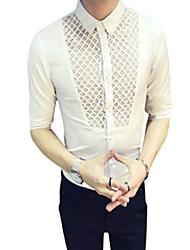 abordables -Chemise Grandes Tailles Homme,Fleur Géométrique Chinoiserie