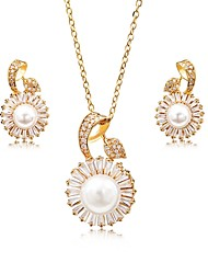 cheap -Women's Cubic Zirconia Pearl Zircon Silver Plated Gold Plated Floral Jewelry Set 1 Necklace Earrings - Floral Elegant Sweet Irregular