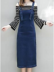 Недорогие -Жен. Оболочка Платье - Однотонный, Классический Завышенная С открытыми плечами