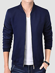 cheap -Men's Chinoiserie Plus Size Cotton / Polyester Jacket - Solid Colored / Please choose one size larger according to your normal size.