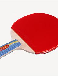 abordables -DHS® E306 Ping Pang/Tennis de table Raquettes Bois Caoutchouc 3 étoiles Manche Court