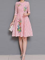 baratos -Mulheres Temática Asiática Bainha Vestido - Bordado, Floral Longo