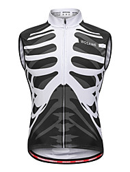 abordables -WOSAWE Homme Sans Manches Gilet de Cyclisme Sans Manches - Noir / Blanc Vélo Gilet / Sans Manche / Maillot, Anti-transpiration