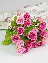 baratos -2 Ramo Poliéster Rosas Flor de Mesa Flores artificiais Decoração para casa Bouquets de Noiva
