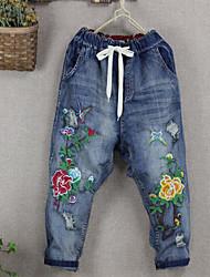 baratos -Mulheres Fofo Harém Jeans Calças - Sólido Floral Bordado