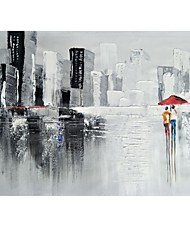 cheap -STYLEDECOR Modern Hand Painted Abstract Urban Pedestrian Oil Painting on Canvas for Living Room Bedroom
