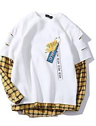 preiswerte -Herren täglichen Farbblock Rundhals Sweatshirt kurz, langärmelige Feder Polyester