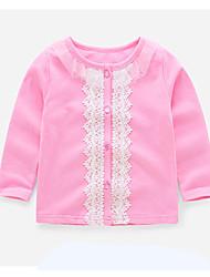 preiswerte -Mädchen Pullover & Cardigan Alltag Festtage Solide Baumwolle Polyester Frühling Herbst Langarm Aktiv Rosa Marineblau