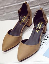 abordables -Femme Chaussures Tissu Hiver Automne Confort Sabot & Mules Bout rond pour Décontracté Noir Gris Marron Vert Bourgogne