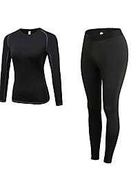 baratos -Mulheres activewear Set - Azul, Vermelho / Branco, Cinzento Esportes Sólido Leggings / Conjuntos de Roupas Cooper Manga Longa / Pant Long Roupas Esportivas Respirabilidade Com Stretch