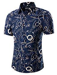 Homens Camisa Social Vintage Moda de Rua Estampado, Sólido Floral Estampa Colorida