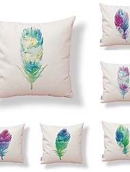 cheap -6 pcs Textile Cotton/Linen Modern/Contemporary Pillow case Pillow Cover, Art Deco Special Design Feathers Artistic Style High Quality