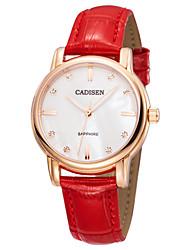 Недорогие -CADISEN Жен. Кварцевый Модные часы Повседневные часы Японский Защита от влаги Повседневные часы Фосфоресцирующий Кожа Группа Elegant Мода