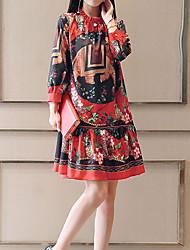 baratos -Mulheres Feriado Sofisticado Solto Vestido - Estampado, Floral Colarinho Chinês Acima do Joelho