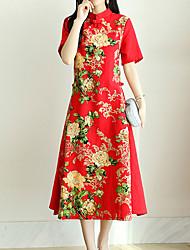 abordables -Femme Vacances Chinoiserie Ample Ample Robe - Imprimé, Fleur Mao Midi