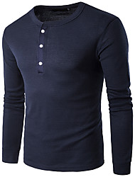 cheap -Men's Street chic Cotton Slim T-shirt - Solid Colored / Striped Round Neck / Long Sleeve
