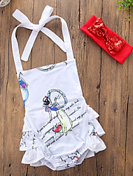 cheap -Baby Girls' Daily Going out Print One-Pieces, Cotton Polyester Summer Cute Casual Sleeveless White