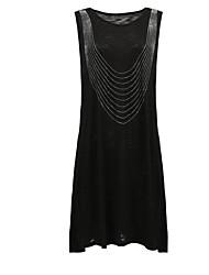 baratos -Mulheres Básico Camiseta Vestido - Paetês, Sólido Acima do Joelho