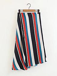 billige -Dame Plusstørrelser Bomuld Asymmetrisk Gynge Nederdele Stribet Flettet / Forår