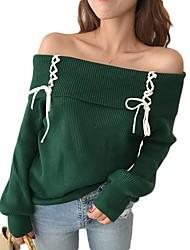 Недорогие -Жен. Классический Длинный рукав Пуловер - Однотонный С открытыми плечами