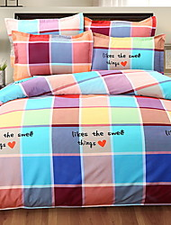 cheap -Duvet Cover Sets Mixed Color Grid/Plaid Patterns 4 Piece Poly/Cotton 100% Cotton Yarn Dyed Poly/Cotton 100% Cotton 1pc Duvet Cover 2pcs