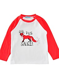 baratos -Unisexo Camiseta Estampa Animal Primavera Outono Algodão Preto Vermelho