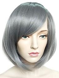 abordables -Pelucas sintéticas Liso Planchado Corte Bob / Corte a capas Pelo sintético Entradas Naturales Gris Peluca Mujer Corta Sin Tapa