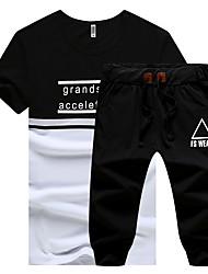 preiswerte -Männer plus Größe Sport kurzen Ärmeln Baumwolle schlank Activewear Set - fester Buchstabe Rundhals