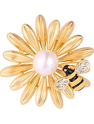 cheap -Women's Brooches - Gold Plated Flower, Bee Fashion Brooch Silver / Golden For Evening Party / Prom