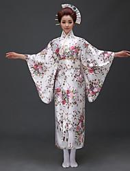 abordables -Cosplay Robes Kimono Femme Fête / Célébration Déguisement d'Halloween Blanc Bleu Rouge Floral/Botanique Kimonos