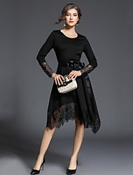 cheap -SHIHUATANG Women's Vintage Sophisticated A Line Little Black Dress - Solid Colored, Lace Bow