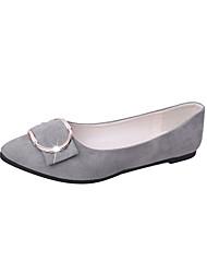 abordables -Femme Chaussures Gomme Hiver Confort Ballerines Bout pointu pour De plein air Gris / Vert Véronèse / Rose