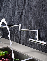 abordables -Moderne Pot Filler Montage mural Rotatif Soupape en laiton Mitigeur deux trous Chrome, Robinet de Cuisine