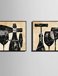 Недорогие -Холст в раме Набор в раме - Натюрморт Продукты питания Пластик Иллюстрации Предметы искусства