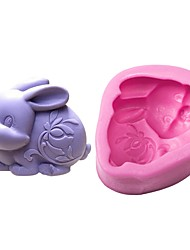 cheap -1pc Rabbit For Pudding For Candy Cake For Chocolate For Cookie Silica Gel DIY Easter Birthday 3D Baking Tool Cake Molds