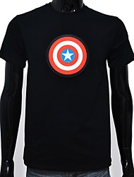 baratos -Camiseta com LED Luminoso Algodão puro LED Casual 2 Baterias AAA