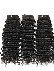 Недорогие -3 Связки Бразильские волосы Волнистый Натуральные волосы Удлинитель / Накладки из натуральных волос Ткет человеческих волос Удлинитель Расширения человеческих волос