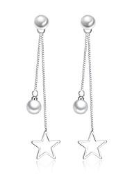 baratos -Mulheres Zircônia Cubica Brincos Compridos - Imitação de Pérola Básico, Fashion Prata Para Diário Cerimônia