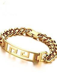 Недорогие -Муж. Браслеты-цепочки и звенья , Мода нержавеющий Геометрической формы Бижутерия Подарок Повседневные Бижутерия Золотой