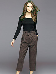 cheap -EWUS Women's Blouse - Solid Plaid/Check, Beaded Pant