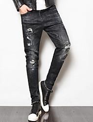 cheap -Men's Cotton Linen Jeans Pants - Solid Colored