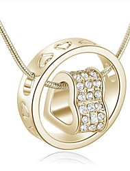 cheap -Women's Heart Rhinestone Pendant Necklace  -  Fashion Circle Gold Silver Necklace For Daily